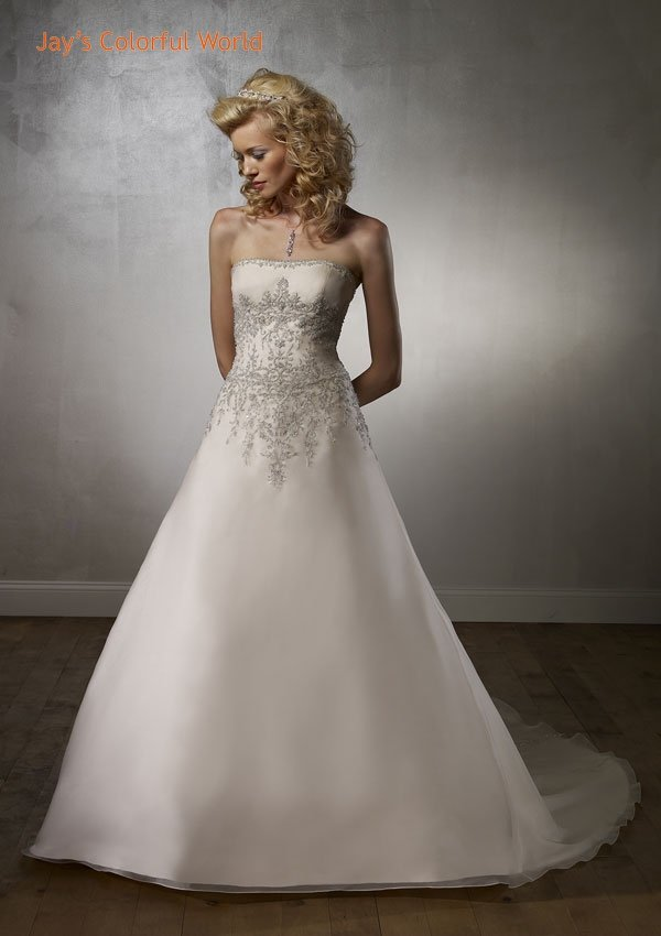 A-line Strapless Embroidery Beading Organza Wedding Dress Bridal Gown