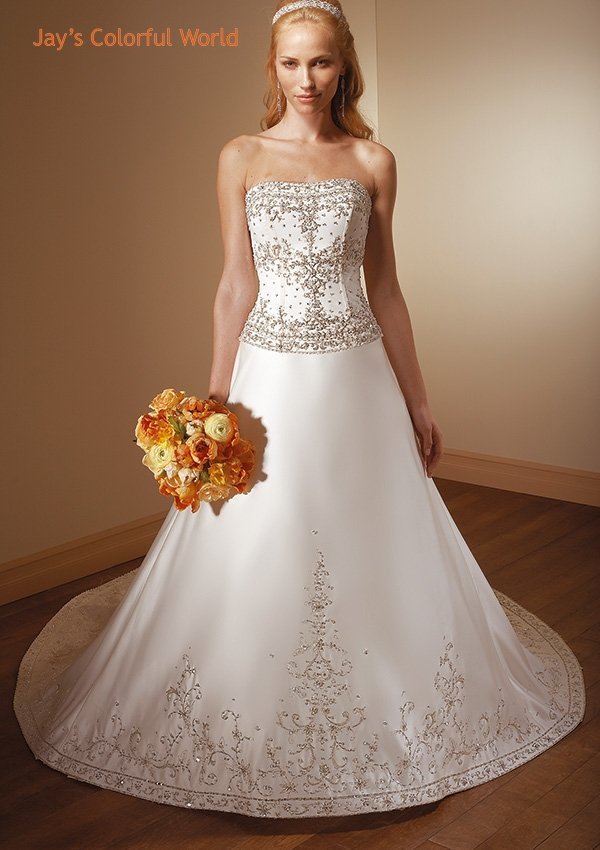 A-line Scoop Neckline Strapless Embroidery Beading Wedding Dress Bridal Gown