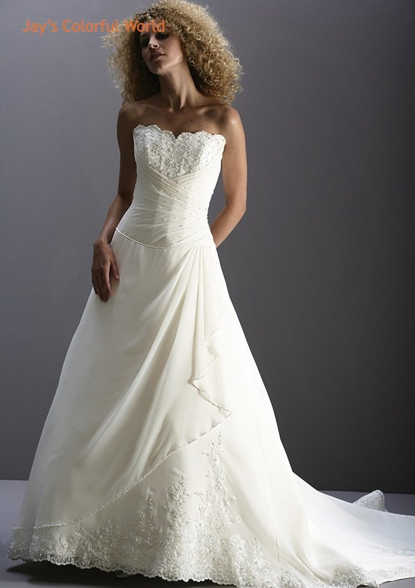 New Design Strapless Appliques and Beading Chiffon Wedding Dress Bridal Gown