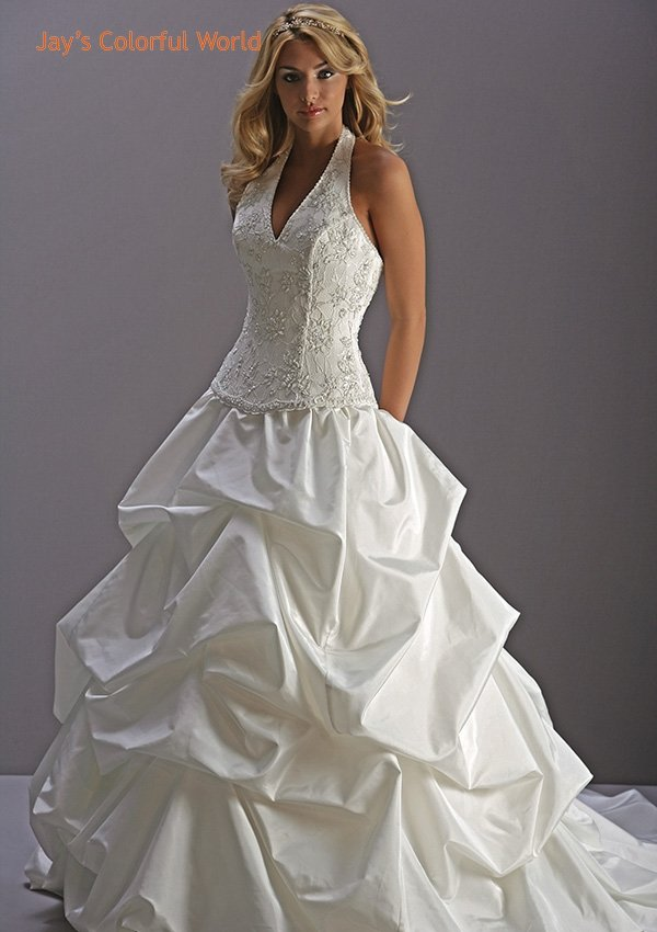 Halter Strap Pick-up Applique Beading Wedding Dress Bridal Gown