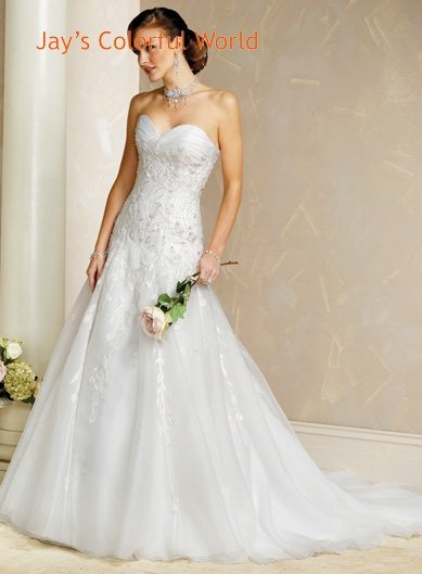 A-line V-neckline Lace-up Appliques Beading Wedding Dress Bridal Gown