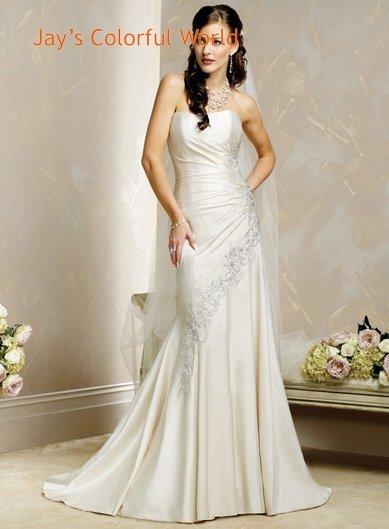 Sheath Scoop Neckline Strapless Appliques Beading Wedding Dress Bridal Gown