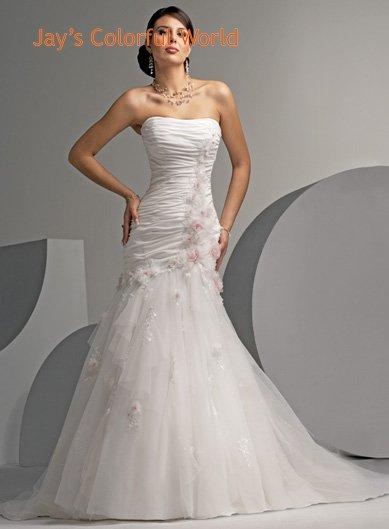 Mermaid Strapless Organza Wedding Dress Bridal Gown