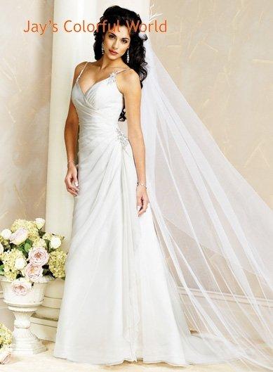 V-neckline Spaghetti Strap Lace up Chiffon  Wedding Dress Bridal Gown