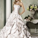 Pick-up Scoop Neckline Strapless Beading Wedding Dress Bridal Gown