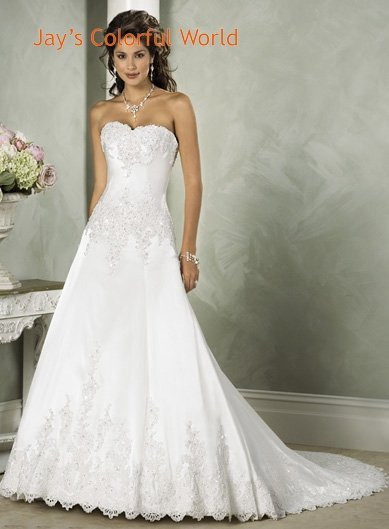 A-line Sweetheart Neckline Appliques Beading Sweep Train Wedding Dress Bridal Gown
