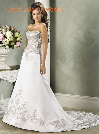 A-line Scoop Neckline Strapless Embroidery Beading Train Wedding Dress Bridal Gown