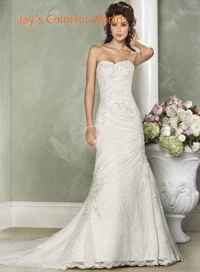 Sweetheart Neckline Strapless Appliques Beading Wedding Dress Bridal Gown