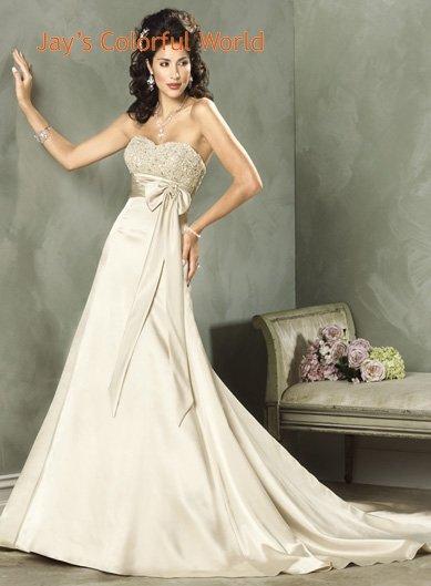 Champagne Sweetheart Neckline Strapless Satin Wedding Dress Bridal Gown