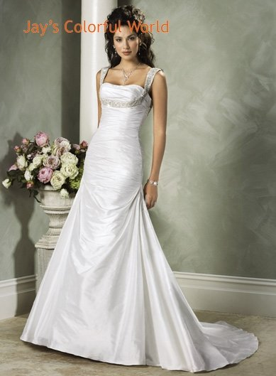 A-line Lace up Beading Taffeta Wedding Dress Bridal Gown