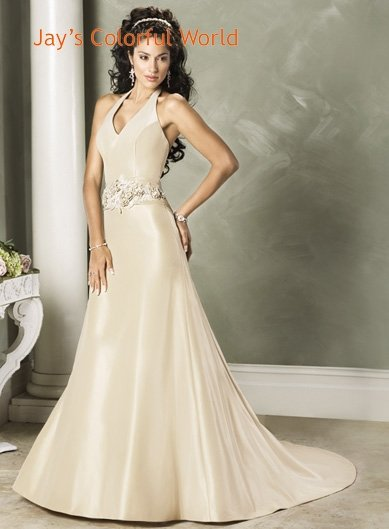 Champagne Halter Neckline Beading Wedding Dress Bridal Gown