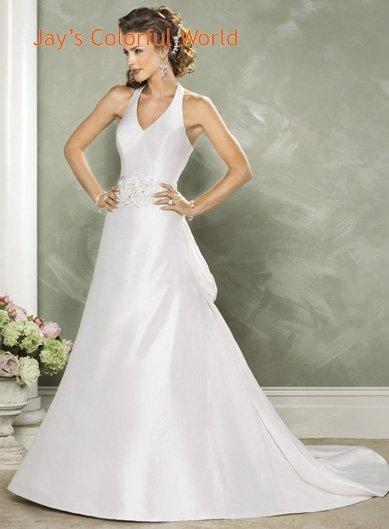 Halter Strap Appliques Beading Taffeta  Wedding Dress Bridal Gown