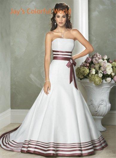 Fashion A-line Straight Neckline Strapless Wedding Dress Bridal Gown