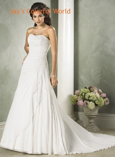 Scoop Neckline Strapless Beading Chiffon Wedding Dress Bridal Gown