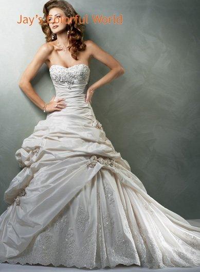 V-neckline Strapless Appliques Beading Taffeta Wedding Dress Bridal Gown