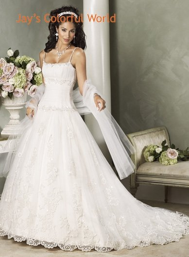 Spaghetti Strap Appliques Organza  Wedding Dress Bridal Gown