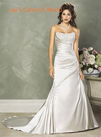 Mermaid Scoop Neckline Strapless Appliques Beading  Wedding Dress Bridal Gown
