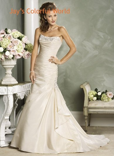 Mermaid Scoop Neckline Strapless Beading Custom made Wedding Dress Bridal Gown