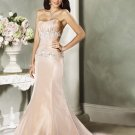 Mermaid Scoop Neckline Beading Taffeta Custom made Wedding Dress Bridal Gown