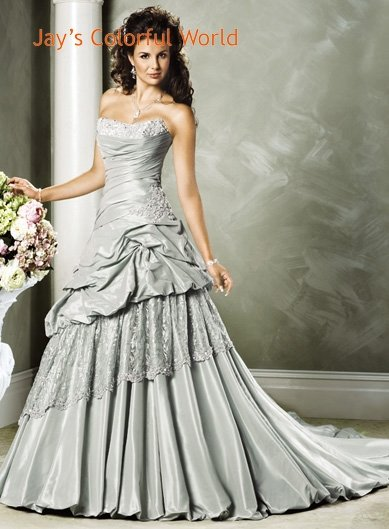 Custom made A-line Scoop Neckline Strapless Appliques Beading Wedding Dress Bridal Gown