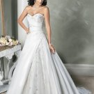 Custom made V-neckline Strapless Embroidery Beading Wedding Dress Bridal Gown