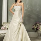 Custom made Gold A-line Appliques Taffeta Wedding Dress Bridal Gown