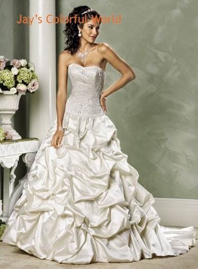 Custom made Pick-up Appliques Beading Lace up Wedding Dress Bridal Gown