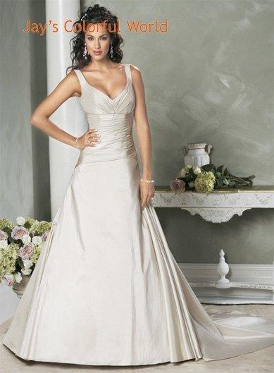 Sexy Deep V-neckline Taffeta Custom made  Wedding Dress Bridal Gown