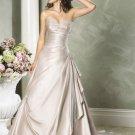 A-line Sweetheart Neckline Strapless Satin Custom made  Wedding Dress Bridal Gown