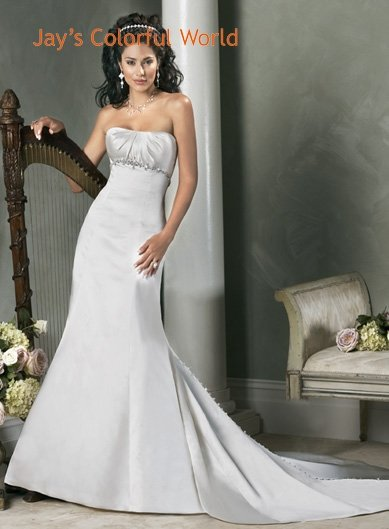 Mermaid Straight Neckline Strapless Satin Custom made  Wedding Dress Bridal Gown