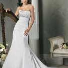Mermaid Straight Neckline Strapless Satin Custom made  Wedding Dress Bridal Gown