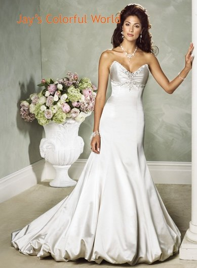 Sexy Deep V-neckline Strapless Backless Beading Taffeta Custom made Wedding Dress Bridal Gown