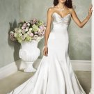 Sexy Deep V-neckline Strapless Backless Beading Taffeta Custom made Wedding Dress Bridal Gown