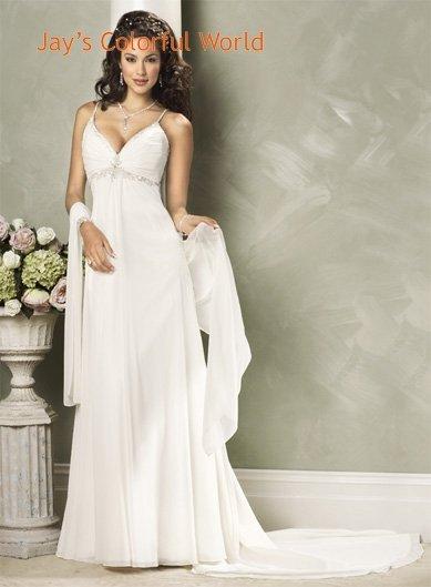 Classics V-neckline Spaghetti Strap Appliques Beading Chiffon Custom made Wedding Dress Bridal Gown