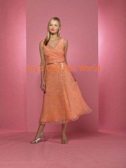 Orange T-length V-neckline Organza Bridesmaid Dress/Evening Dress/Home Coming