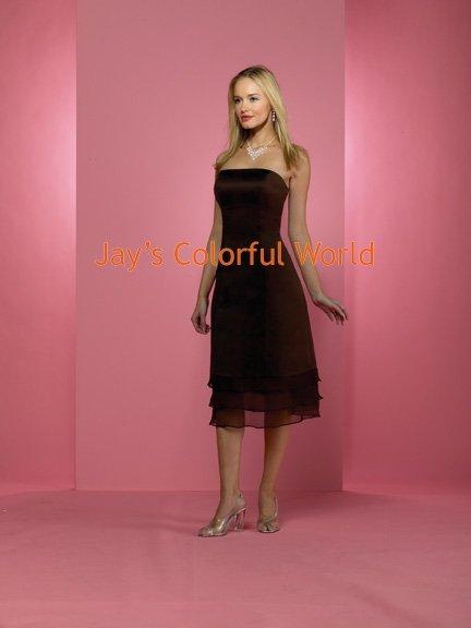Coffee Sheath Strapless Organza Bridesmaid Dress/Evening Dress/Home Coming