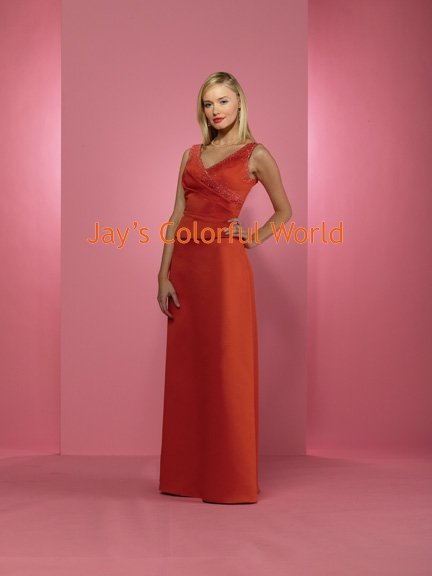 Red V-neckline Floor-length Beaded Bridesmaid Dress/Evening Dress/Home Coming