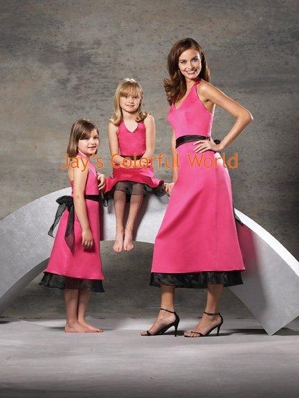 Pink and Black V-neckline Bridesmaid Dress/Evening Dress/Home Coming
