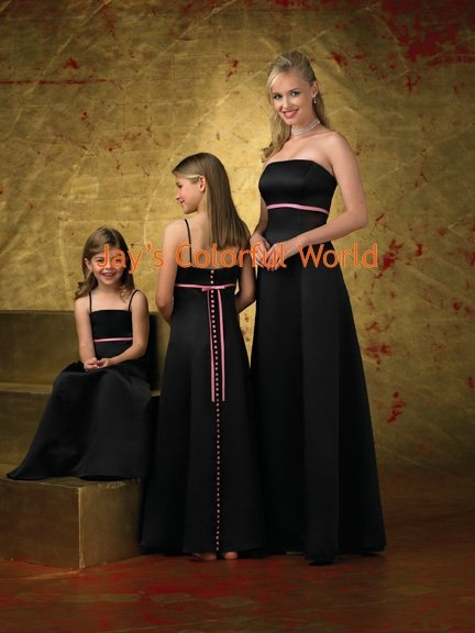 Black and Pink Strapless or Spaghetti Strap Custom-made Bridesmaid Dress/Evening Dress/Home Coming