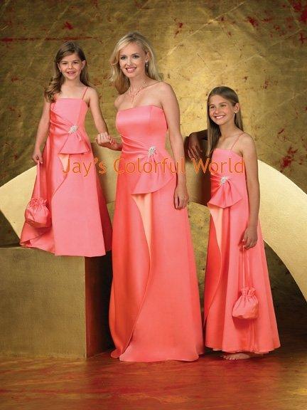Custom-made Floor-length Strapless or Spaghetti Strap Bridesmaid Dress/Evening Dress/Home Coming
