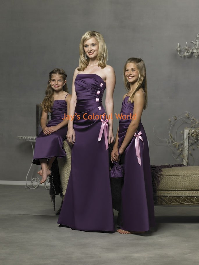 Violet Straight Neckline Strapless or Spaghetti Strap Bridesmaid Dress/Evening Dress/Home Coming