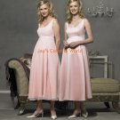 Pink T-length Scoop Neckline Cap Sleeve Satin and Chiffon Bridesmaid Dress/Evening Dress/Home Coming