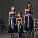 Blue Tea-length Custom-made Bridesmaid Dress/Evening Dress/Home Coming