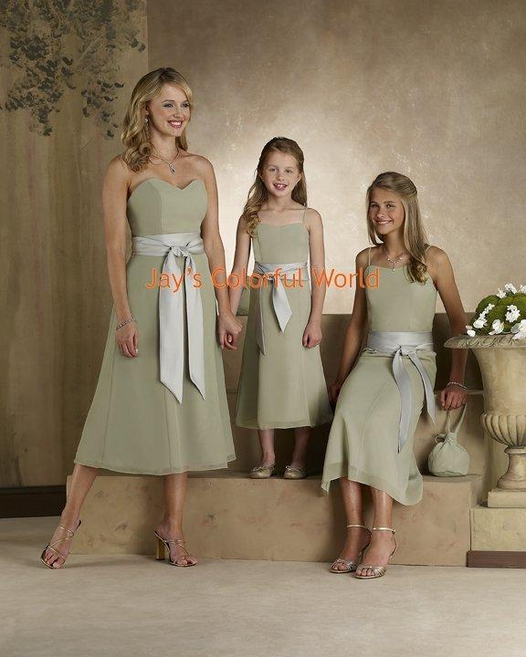 Kiwi Tea-length Sweetheart Neckline Chiffon Bridesmaid Dress/Evening Dress/Home Coming