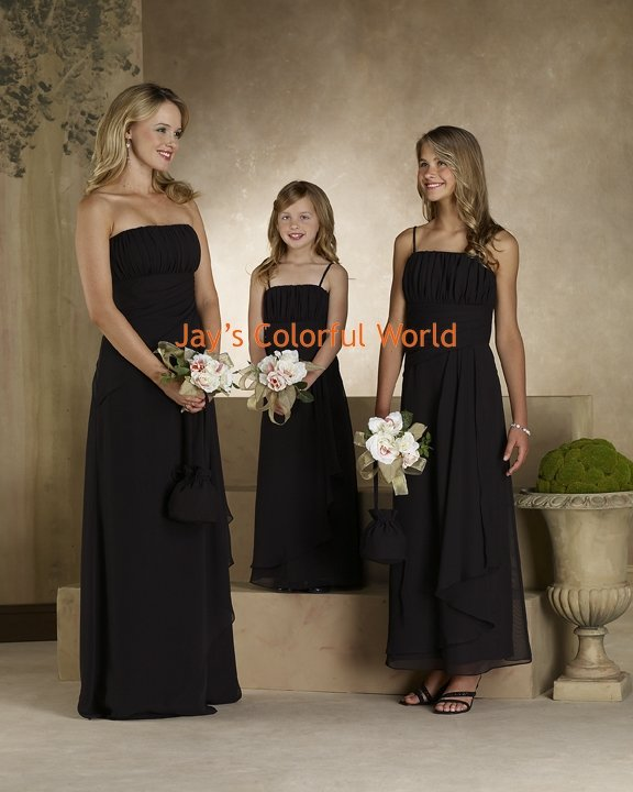 Black Straight Neckline Strapless or Spaghetti Strap Bridesmaid Dress/Evening Dress/Home Coming