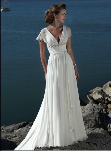 Sexy V-neckline Cap Sleeve Beaded Chiffon Custom made Wedding Dress