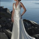 Deep V-neckline Beaded Stretch satin Custom-made Wedding Dress