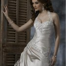 Detachable Halter Appliqued Beaded Taffeta Custom-made Wedding Dress