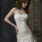Custom-made Scoop Neckline Appliqued Beaded Taffeta Wedding Dress