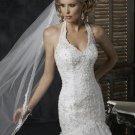Mermaid Halter Appliqued Beaded Satin and Tuller Custom made Wedding Dress